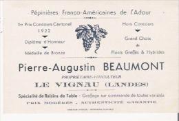 LE VIGNAU (LANDES) CARTE DE VISITE ANCIENNE DES PEPINIERES FRANCO AMERICAINES DE L'ADOUR PIERRE AUGUSTIN BEAUMONT PROP - Visiting Cards