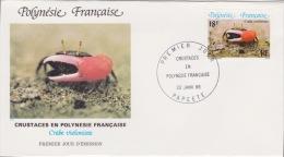 POLYNÉSIE FRANÇAISE  1ER JOUR Crustacés En Polynésie Française 22 Janvier 1986 - Polynésie Française