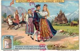 CHROMO LIEBIG - ANCIENS COSTUMES NORVGIENS-NORVEGE- DANSE HALLINGDAL - FRAY BENTOS-URUGUAY-COLON ARGENTINE - Liebig