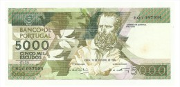 PORTUGAL - 5000 Escudos Bank Note -  19 De Outubro De 1989 - Used - Portugal