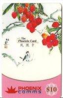 -CARTE-PREPAYEE-SINGAPOUR- PHOENIX CARD-10$-OISEAU-FRUITS ROUGES-06-2002-T BE - Singapour