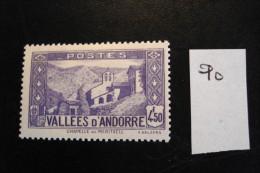 Andorre Français - Années 1937-43 - 4f50 Violet Chapelle N.D. Meritxel - Y.T. 90 - Neufs (*) - Mint (MLH) - Andorre Français