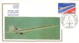 Enveloppe  1er  Jour  1er  Vol   CONCORDE      RIO  DE  JANEIRO  -  PARIS    1976 - Concorde