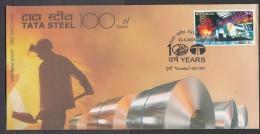 INDIA, 2008,  FDC,  Centenary Of Tata Steel, Steel Plant, Rolls Of Mineral, Iron Bridge Mumbai Cancellation - FDC