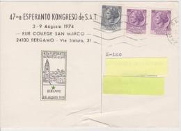 (AKE 100) Esperanto Card From Italy - 47a Esperanto Kongreso De SAT En Bergamo - 1974 - Esperanto