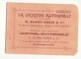 Calendrier 1906 La Location Automobile  Blanc Garin Paris / RARE - Calendriers
