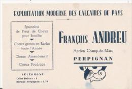 PERPIGNAN CARTE DE VISITE ANCIENNE FRANCOIS ANDREU EXPLOITATION MODERNE DES CALCAIRES DU PAYS - Visiting Cards