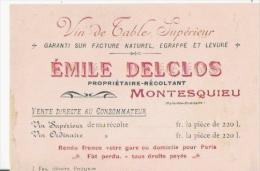 MONTESQUIEU (PYRENEES ORIENTALES) CARTE DE VISITE ANCIENNE EMILE DELCLOS VIN DE TABLE SUPERIEUR - Visiting Cards