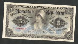 [NC] PARAGUAY - BANCO De La REPUBLICA - 5 PESOS (1907) - AUNC - Paraguay