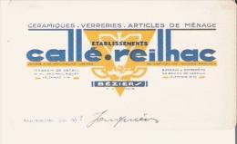 BEZIERS (HERAULT) CARTE DE VISITE ANCIENNE DES ETS CALLE REILHAC CERAMIQUES VERRERIES ARTICLES DE MENAGE - Visiting Cards