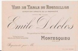 MONTESQUIEU (PYRENEES ORIENTALES) CARTE DE VISITE ANCIENNE DES ETS EMILE DELCLOS VINS DE TABLE DU ROUSSILLON - Visiting Cards