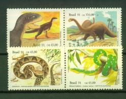 Serpents, Reptiles - Dinosaures - Animaux Préhistoriques - BRESIL - Téropode, Sauropode - N° 2019 à 2022 ** - 1991 - Brazil