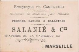MARSEILLE CARTE DE VISITE ANCIENNE DERS ETS SALANIE ET CIE ENTREPRISE DE CAMMIONNAGE - Visiting Cards