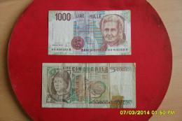 Lot De 2 Billets /Italie De 1000 Lire 1980 Et 5000 Lire 1978 En TTB - [ 2] 1946-… : République