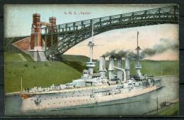"CPA Color AK German Empires ,DR-Deutsche Marine "" Kreuzer S.M.S. York,belebt  "" 1 AK Blanco - Guerra"