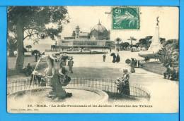 CP, 06, NICE, La Jetée Promenade Et Les Jardins Fontaine Des Tritons, Voyagé - Parcs Et Jardins