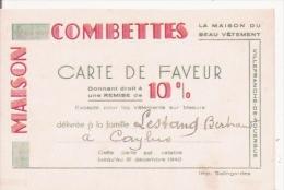 VILLEFRANCHE DE ROUERGUE CARTE DE VISITE ANCIENNE DE LA MAISON COMBETTES MAISON DU BEAU VETEMENT - Visiting Cards