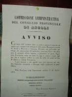 1853  GOVERNO PONTIFICIO PAPA PIO IX  - MANIFESTO (30X40) SULLA MESSAGGERIA POSTALE DA ASCOLI A MACERATA... - Affiches