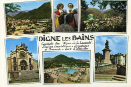 DIGNES LES BAINS - ALPES DE HAUTE-PROVENCE - (04) -  PEU COURANTE CPSM COULEUR MULTIVUES. - Digne