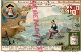 CHROMO LIEBIG - ENFANCE ITALIENS CELEBRES- CHRISTOPHE COLOMB- MARCO POLO- GENES- FRAY BENTOS URUGUAY- COLON ARGENTINE - Liebig