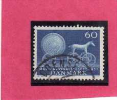 DANEMARK DANMARK DENMARK DANIMARCA 1957 NATIONAL MUSEUM Sun God's Chariot 60o ORE 60 USATO USED OBLITERE' - Danimarca