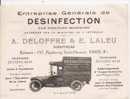 CARTE DE VISITE ANCIENNE ENTREPRISE GENERALE DE DESINFECTION A DELOFFRE ET E LALEU PARIS (AUTO) - Visiting Cards