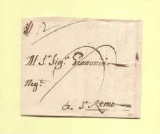 Nizza (manuscrit) - Lettre De Nice Destination St Remo - 1764 - Alpes Maritimes - 1701-1800: Voorlopers XVIII