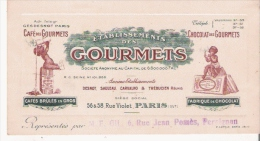 CARTE DE VISITE ANCIENNE ILLUSTREE ETS DES GOURMETS CAFE CHOCOLAT PARIS - Visiting Cards