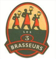 """Sous-Bock """"Les 3 Brasseurs"""" (contour Noir) - Sous-bocks"""