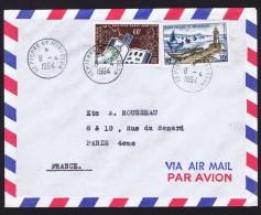 1964   Lettre Avion Pour La France   Philatec Et Bateaux De Pêche 10 Fr  Yv 371,  357 - St.Pierre Et Miquelon