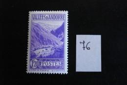 Andorre Français : Années 1937-43 - 1f 20 Violet Gorges De Saint-Julie - Y.T. 76 - Neuf (*) Mint (MLH) - Andorre Français