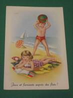 """Carte Enfants à La Plage """" Jeux Et Farniente"""" - Cartes Humoristiques"""