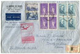 FRANCE LETTRE RECOMMANDEE PAR AVION  PAR 1er SERVICE POSTAL AERIEN FRANCE - ETATS-UNIS VIA MARSEILLE-NEW YORK - 1927-1959 Briefe & Dokumente