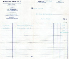 Facture Du 20 Mars 1930 De Aine-Montaillé Paris - Textilos & Vestidos