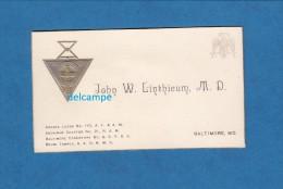 Carte De Visite Ancienne - BALTIMORE - J. W. Linthicum , Franc Maçon - Commanderie Du Mary Land - Loge Maçonnique - Cartes De Visite