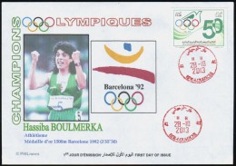 ALGERIE ALGERIA 2013  - FDC - Comité Olympique Algérien - Athletics Gold Medallist Boulmerka Athletism - Summer 1992: Barcelona
