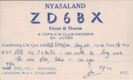 Rhodesia Carte Radio Amateur, Nyasaland ZD6BX - Radio-amateur