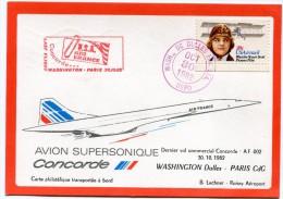 CARTE CONCORDE DERNIER VOL COMMERCIAL CONCORDE AF 002  WASHINGTON DULLES - PARIS CDG 30.10.1982 - Concorde