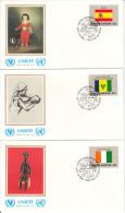United Nation New York Set Of 16 Unaddressed FDCs 1988 Flag Series Scott #528-#543 - Enveloppes