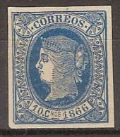 Isla De Cuba 014 * Isabel II. 1866. Charnela - Cuba (1874-1898)