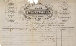 LIBRAIRIE BALON VINCENT - NAMUR - 1870 - Printing & Stationeries