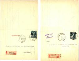 GOSSELIES - ENVOI EN RECOMMANDE N° 290 ET 728  - 2 LETTRES AVEC TIMBRES 724T - 5FR - 10%  - 1947 - 1946 -10 %