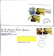 ITALIA -lettera + Frammento Con Sassone 1807 Colori Differenti (giallo Bruno E Giallo Verde) - 6. 1946-.. Repubblica