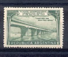 PUENTE INTERNACIONAL ARGENTINA BRASIL ENTRE PASO DE LOS LIBRES Y URUGUAIANA AÑO 1947 OFFSET SIN FILIGRANA - Non Classificati