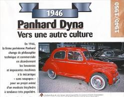 1 Fiche Technique  De La Voiture Panhard Dyna (1946)  Scan (face Et Revers) - Voitures