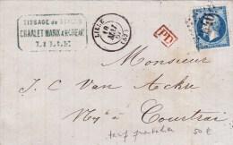 1867 - NORD - TARIF FRONTALIER - LETTRE De LILLE Pour COURTRAI (BELGIQUE) - Marcophilie (Lettres)