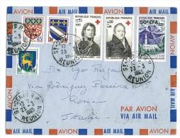 REUNION - 1965 Red Cross - POSTA AEREA VIAGGIATA VERSO ITALIA - Rode Kruis