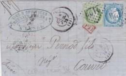"""1873 - CERES 5c Avec VARIETE CADRE CASSE Sur LETTRE De LUNEL (HERAULT) Avec GRIFFE """"PD"""" Sur Le TIMBRE Pour La SUISSE - 1849-1876: Période Classique"""