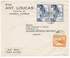 0850// CYPRUS - Airmail Cover From Nicosia 2.12.1949 With 2x UPU # 161 And # 140 For Uprating - Chypre (République)