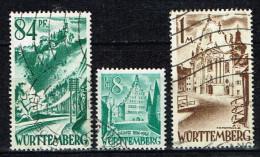 Württemberg 1947-48 , 3 Marken : Mi. 12, 13, 16  Gestemp. / Used / Oblitaire - Zone Française
